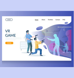 vr game website landing page design vector image