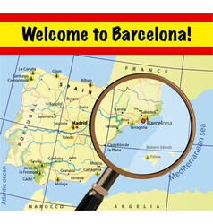 Welcome to Spain Barcelona with airports on map vector image