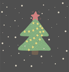 winter and christmas with green fir t vector image