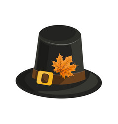 Woman wearing pilgrim hat and lipstick autumn fox vector