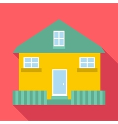 Yellow house icon flat style vector