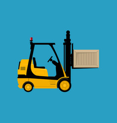 yellow vehicle forklift picks up a box isolated vector image