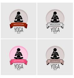 yoga logo design artwork woman practicing yoga vector image