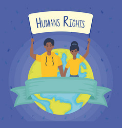 Young afro couple with human rights label and vector