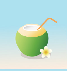 young coconut with straw vector image