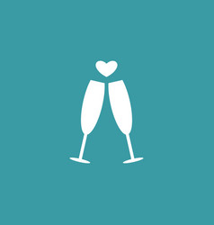 Champagne with heart icon simple love valentine vector