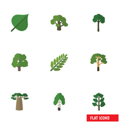 Flat icon ecology set of hickory wood leaves and vector