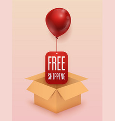 free shipping business concept box with red vector image vector image