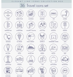 Travel outline icon set Elegant thin line vector image