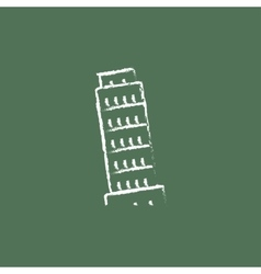 Leaning Tower of Pisa icon drawn in chalk vector image
