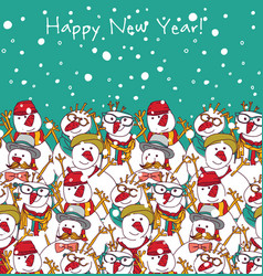 new year and sky snowmen greeting card vector image