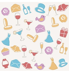 Pattern with wedding elements vector image vector image