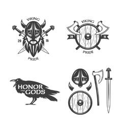 Viking related t-shirt graphics set vector image