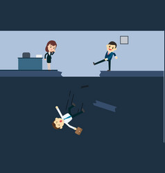 businessman kick a employee to abyss of vector image