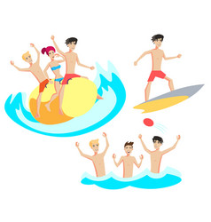 people relaxing at the beach vector image