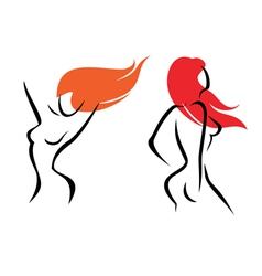 sexy women isolated symbols set vector image vector image