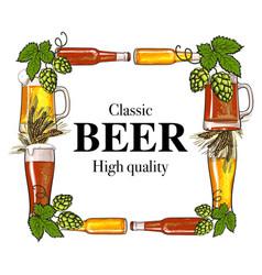 square frame of beer bottle mug glass malt and vector image vector image