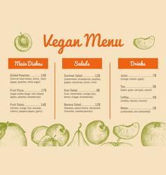 vegan cafe menu hand drawn design vector image