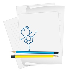 A paper with a drawing of a girl dancing ballet vector image vector image