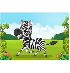Cartoon adorable zebra vector image