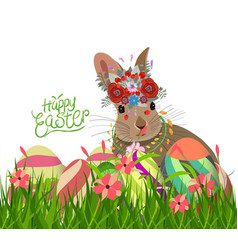 easter eggs and rabbit spring with flower vector image vector image