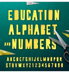 Education alphabet and numbers cut out from paper vector image vector image