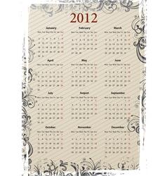european vector beige floral grungy calendar 2011 vector image