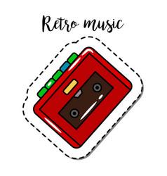 fashion patch element retro cassette player vector image vector image