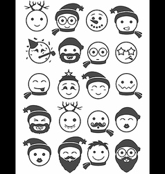 icons set 20 smiles winter black and white vector image