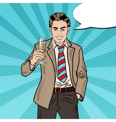 Pop art businessman with champagne glass vector