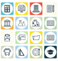 set of 16 school icons includes home work e vector image vector image