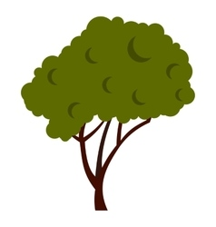 Tree with fluffy crown icon flat style vector image vector image