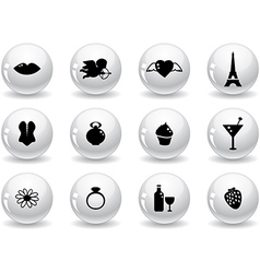 Web buttons romantic icons vector image vector image