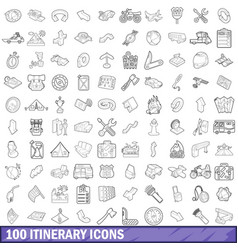 100 itinerary icons set outline style vector