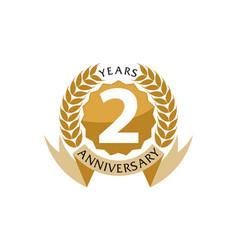 2 years ribbon anniversary vector