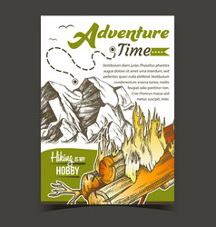 adventure time mountain advertising banner vector image