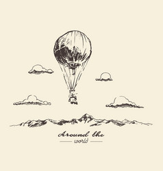 air balloon mountains adventures sketch vector image