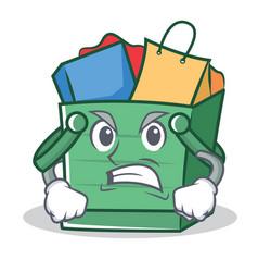 angry shopping basket character cartoon vector image