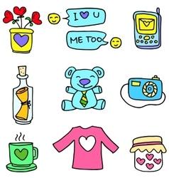 Art love doodle set vector