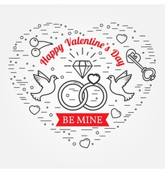 Be mine Happy Valentines Day greetings card labels vector image