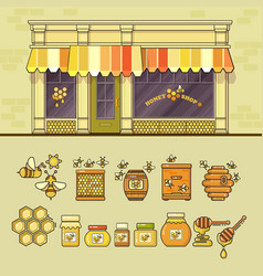 Beekeeping product shop and set of cute honey vector