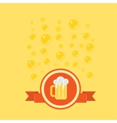 Beer badge with a bubbles on background vector