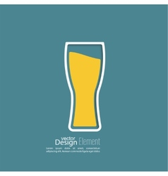 Beer glass with yellow liquid vector