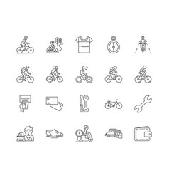 bicycle shop line icons signs set vector image