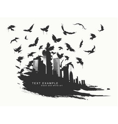 Black spot watercolors flying birds from city vector