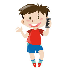 Boy in red shirt using mobile phone vector