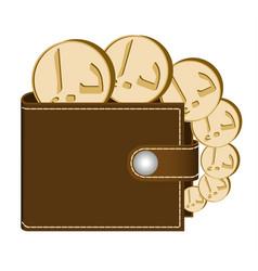 Brown wallet with dirham coins vector