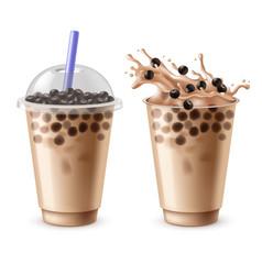 bubble tea bubbles milk drinks with black vector image