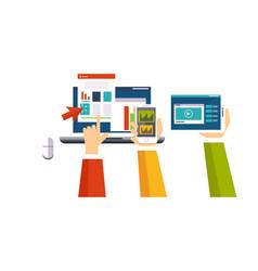 business online digital marketing human hands vector image