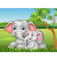 Cartoon funny Mother and baby elephant on jungle vector